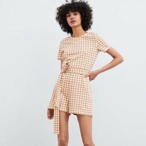 Zara Size Small Tan Plaid Cotton Romper with Tie